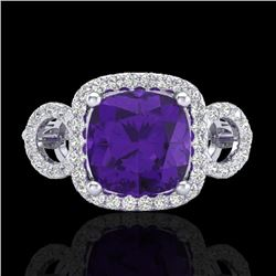Natural 3.75 CTW Amethyst & Micro Diamond Certified Ring 18K White Gold - 22995-REF#-69R8H