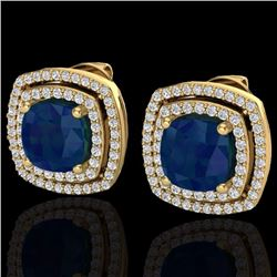 Natural 3 CTW Sapphire & Micro Pave Diamond Certified Halo Earrings 18K Yellow Gold - 20172-REF#-83N