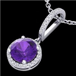 Natural 2 CTW Amethyst & Micro Pave Diamond Necklace Designer Halo 18K White Gold - 23189-REF#-32G8N