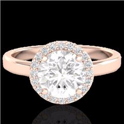 Natural 2 CTW Halo Diamond Certified Micro Pave Ring Solitaire Bridal 14K Rose Gold - 21638-REF#-576