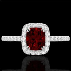 Natural 1.25 CTW Garnet & Micro Pave Diamond Certified Halo Ring 10K White Gold - 22903-REF#-25Y7Z