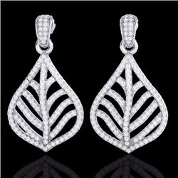 Natural 2.50 CTW Micro Pave Diamond Certified Earrings Designer IN 18K White Gold - 21151-REF#-147N5