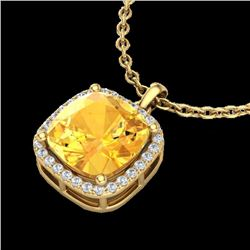 Natural 6 CTW Citrine & Micro Pave Halo Diamond Necklace Solitaire 18K Yellow Gold - 23078-REF#-47X8