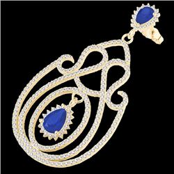 Natural 6.40 CTW Sapphire & Micro Pave Diamond Certified Earrings 14K Yellow Gold - 22430-REF#-243H4