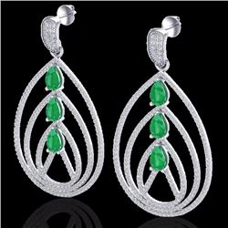Natural 4 CTW Emerald & Micro Pave Diamond Certified Designer Earrings 18K White Gold - 22455-REF#-2