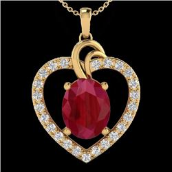 Natural 4 CTW Ruby & Diamond Certified Designer Heart Necklace 14K Yellow Gold - 20495-REF#-63H5M