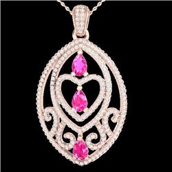 Natural 3.50 CTW PINK Sapphire & Micro Diamond Heart Necklace IN 14K Rose Gold - 21289-REF#-128A2X