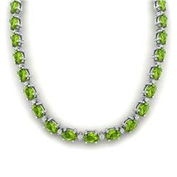 61.85 CTW PERIDOT & DIAMOND SI-I CERTIFIED ETERNITY TENNIS NECKLACE WHITE GOLD - 29513-#362M8H