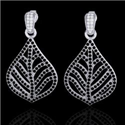 Natural 2.50 CTW Micro Pave Black & White Diamond Earrings Designer IN 18K White Gold - 21149-REF#-1