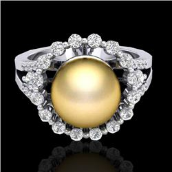 Natural .83 CT Micro Pave Diamond Certified & Golden Pearl Halo Ring 18K White Gold - 20702-REF#-62M