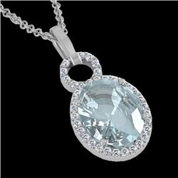 Natural 3 CTW Aquamarine & Micro Pave Solitaire Halo Diamond Necklace 14K White Gold - 22753-REF#-50