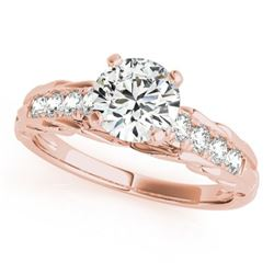 0.70 CTW Certified SI-I Diamond Solitaire Bridal  Ring 18K Rose Gold - 27532-#96K7R