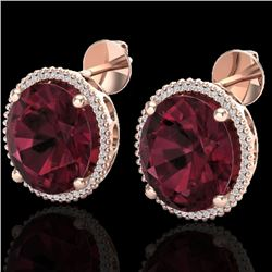 Natural 20 CTW Garnet & Micro Pave Diamond Certified Halo Earrings 14K Rose Gold - 20272-REF#-86V7Y