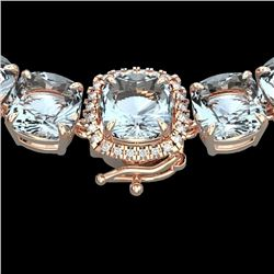 Natural 87 CTW Sky Blue Topaz & Diamond Halo Micro Necklace 14K Rose Gold - 23365-REF#-226X4T