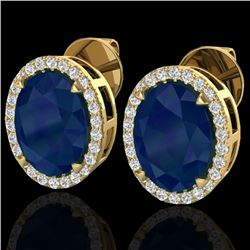 Natural 5.50 CTW Sapphire & Micro Diamond Halo Solitaire Earrings Ring 18K Yellow Gold - 20260-REF#-