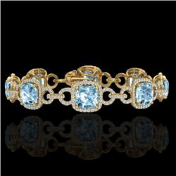 Natural 30 CTW Topaz & Micro Diamond Certified Bracelet 14K Yellow Gold - 23034-REF#-267W5G