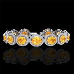 Natural 18 CTW Citrine & Micro Pave Diamond Certified Bracelet 10K White Gold - 22683-REF#-212V2Y