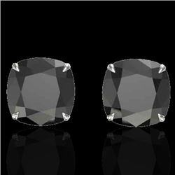 Natural 12 CTW Cushion cut Black Diamond Designer Solitaire Stud Earrings 18K White Gold - 21775-REF