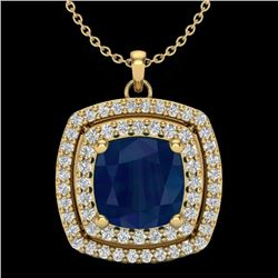 Natural 1.50 CTW Sapphire & Micro Pave Diamond Certified Halo Necklace 18K Yellow Gold - 20464-REF#-