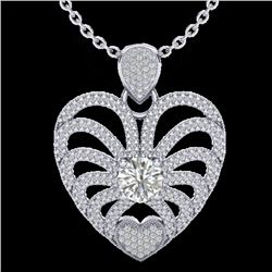 Natural 3 CTW Micro Pave Diamond Certified Heart Necklace 14K White Gold - 20505-REF#-580R7H