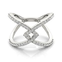0.60 CTW Certified SI-I Diamond Designer Fashion Ring 18K White Gold - 28286-#69A7V