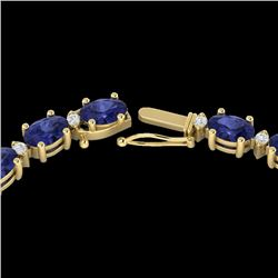 Natural 34 CTW Tanzanite & Diamond Certified Eternity Tennis Necklace 10K Yellow Gold - 21607-REF#-2