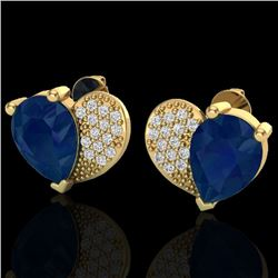 Natural 2.50 CTW Sapphire & Micro Pave Diamond Certified Earrings 10K Yellow Gold - 20080-REF#-25M5F