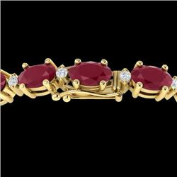 Natural 15 CTW Ruby & Diamond Certified Eternity Bracelet 10K Yellow Gold - 21458-REF#-67A8X