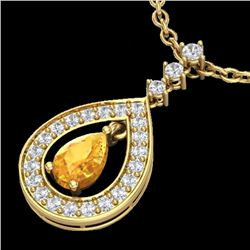 Natural 1.15 CTW Citrine & Micro Pave Diamond Necklace Designer 14K Yellow Gold - 23165-REF#-53Z5R