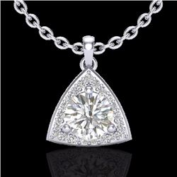 Natural 1.50 CTW Micro Pave Halo Solitaire Diamond Certified Necklace 18K White Gold - 20524-REF#-35