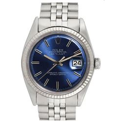 Pre-owned Excellent Condition Authentic Rolex Non-Quickset Men's Stainless Steel DateJust Blue Dial
