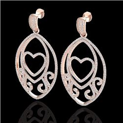 Natural 3.20 CTW Micro Pave Diamond Certified Designer Heart Earrings 14K Rose Gold - 22585-REF#-211