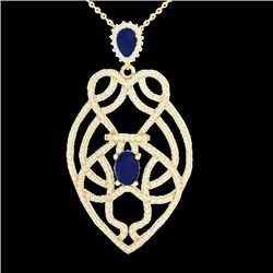 Natural 3.50 CTW Sapphire & Micro Diamond Heart Necklace Solitaire 14K Yellow Gold - 21253-REF#-120G