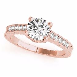 0.34 CTW Certified SI-I Diamond Solitaire Bridal Antique Ring 18K Rose - 27382-#63Y7X