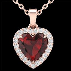 Natural 1 CTW Garnet & Micro Pave Diamond Heart Necklace Heart Halo IN 14K Rose Gold - 21338-REF#-19