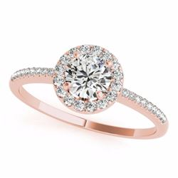 0.75 CTW Certified SI-I Diamond Bridal Solitaire Halo Ring 18K Rose Gold - 26348-#88F7N