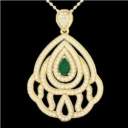 Natural 2 CTW Emerald & Micro Pave Diamond Designer Necklace IN 18K Yellow Gold - 21262-REF#-123M5F