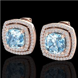 3 CTW Sky Blue Topaz & Micro Diamond Certified Halo Earrings 14K Rose Gold - 20156-REF#77N8F