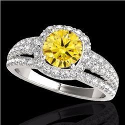2 CTW Certified Fancy Intense Genuine Diamond Solitaire Halo Ring 10K White Gold - 34005-REF#143A5V