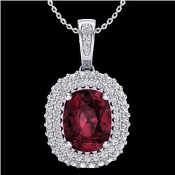 2.60 CTW Garnet & Micro Pave Diamond Certified Halo Necklace 10K White Gold - 20408-REF#40A8V