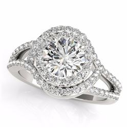 2.15 CTW Certified Fancy Intense Genuine Diamond Solitaire Halo Ring 10K White Gold - 34403-REF#232A