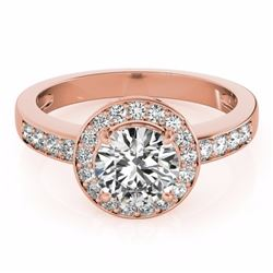 2 CTW Certified G-I Genuine Diamond Bridal Solitaire Halo Ring 10K Rose Gold - 34352-REF#325M8G