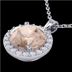 1.50 CTW Morganite & Halo Diamond Micro Necklace Solitaire 18K White Gold - 21566-REF#51Y3X