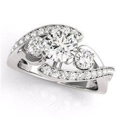 1.76 CTW Certified G-I Genuine Diamond Bypass Solitaire Bridal Ring 10K White Gold - 35036-REF#149T8