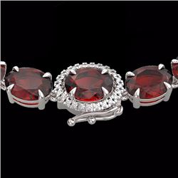 80 CTW Garnet & Diamond Eternity Tennis Micro Halo Necklace 14K White Gold - 23462-REF#174H4W