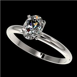 1 CTW Certified Quality Oval Genuine Diamond Solitaire Ring 10K White Gold - 32894-REF#246T8Z