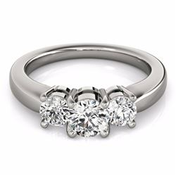 2 CTW Certified Fancy Intense Genuine Diamond 3 Stone Solitaire Ring 10K White Gold - 35446-REF#220R