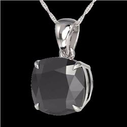 6.0 CTW Cushion Cut Black Diamond Certified Designer Solitaire Necklace 18K White Gold - 21975-REF#1