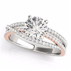 1.40 CTW Certified G-I Genuine Diamond Bridal Solitaire Ring 10K White & Rose Gold - 35543-REF#117Z5