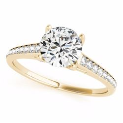 1.50 CTW Certified G-I Genuine Diamond Solitaire Bridal Ring 10K Yellow Gold - 34846-REF#118Y5X